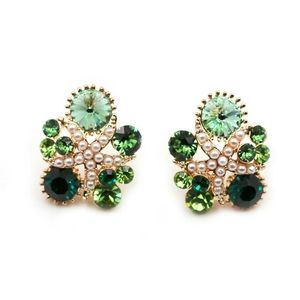 Fashion green starfish crystal earrings
